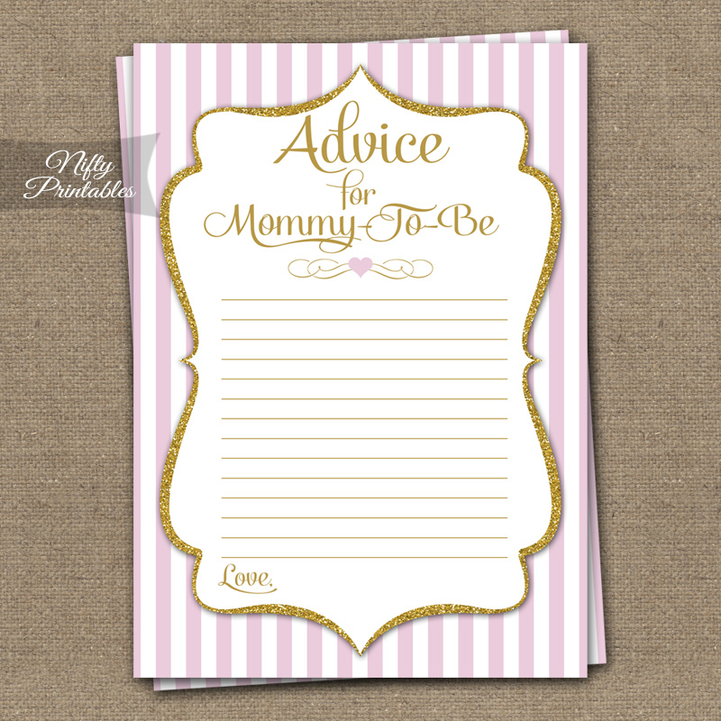 graphic about Mommy Advice Cards Printable known as Suggestions For Mommy Little one Shower Activity - Purple Gold