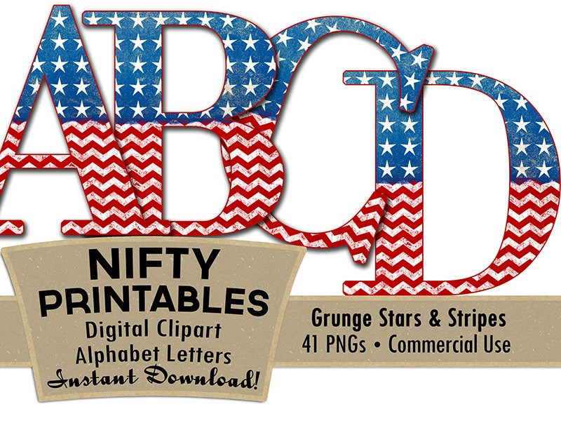 American Flag Alphabet - Red White Blue Patriotic - Nifty ...