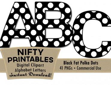 Black & White Polka Dots Alphabet