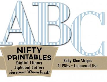 Baby Blue White Stripe Alphabet