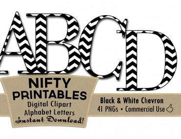 Black & White Chevron Alphabet