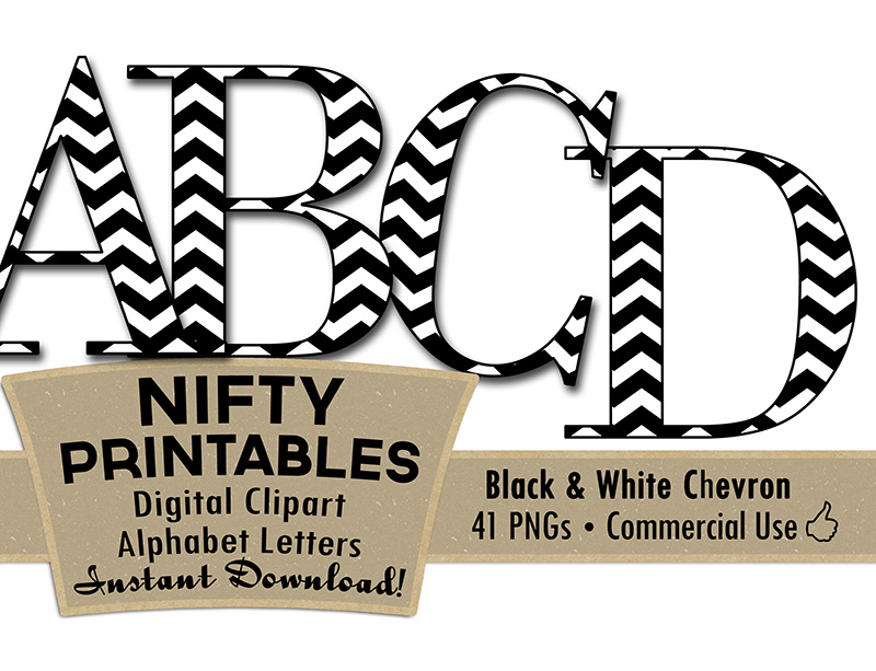 Black & White Chevron Alphabet