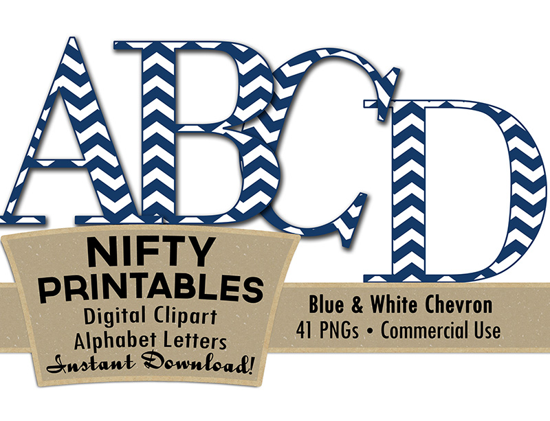 Blue & White Chevron Alphabet