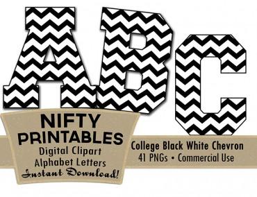 College Varsity Black White Alphabet