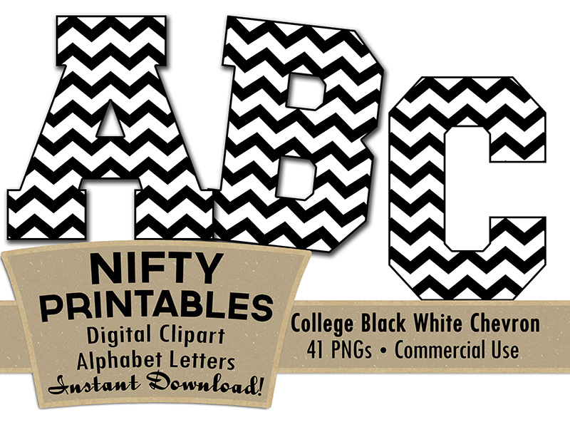 College Varsity Black White Alphabet