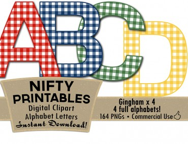 Gingham Alphabet - 4 Colors: Red  Blue Green Yellow
