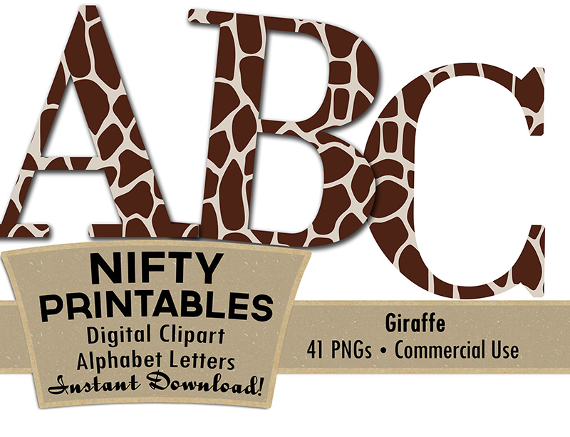 Giraffe Alphabet - Animal Print