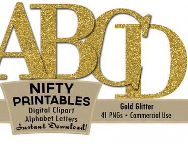 Gold Glitter Alphabet