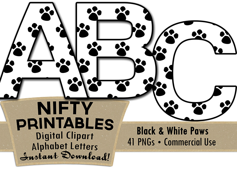 Animal Paws Alphabet - Black & White