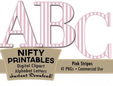 Pink White Stripe Alphabet