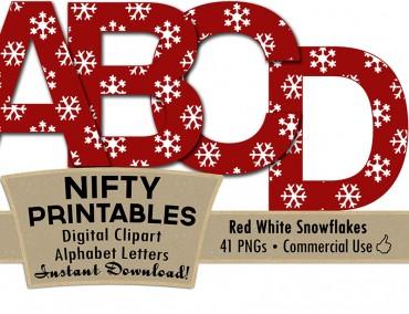 Snowflake Alphabet - Red White Christmas