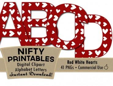 Red White Hearts Alphabet