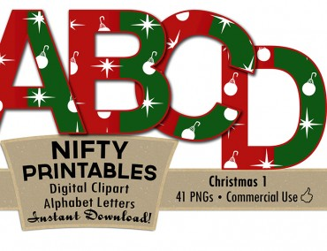 Christmas Ornaments Alphabet - Red Green