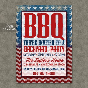 Red White & Blue BBQ Party Invitations - Barbeque