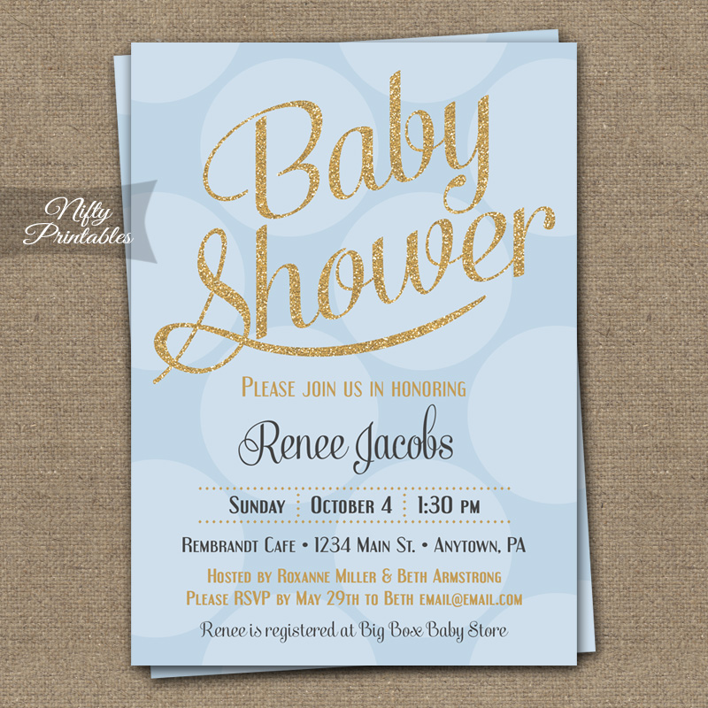 Blue Gold Dots Boy Shower Invitations