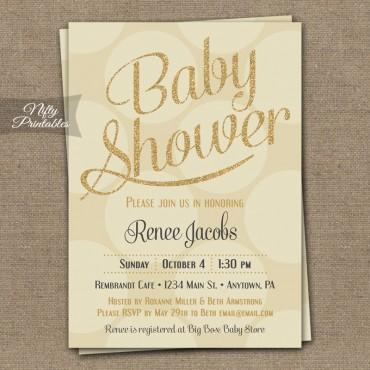 Cream Gold Dots Gender Neutral Shower Invitations