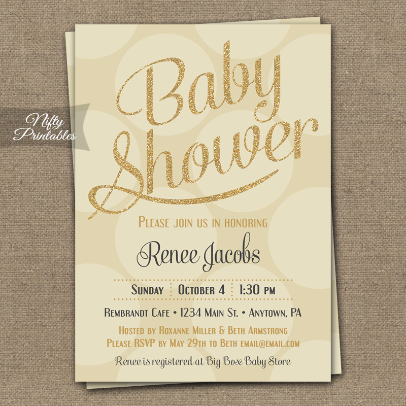 Cream Gold Dots Gender Neutral Shower Invitations