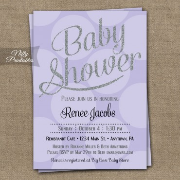 Lilac Silver Dots Gender Neutral Shower Invitations