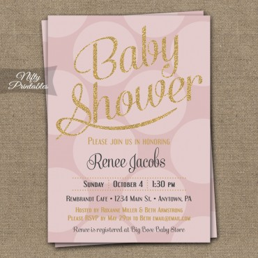 Pink Gold Dots Girl Shower Invitations