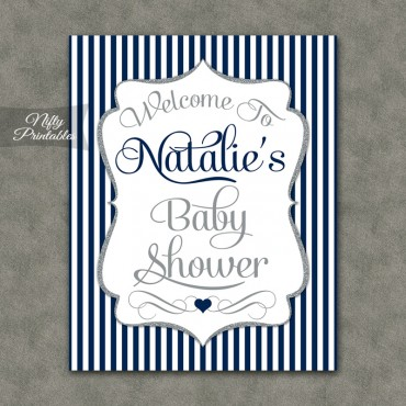 Navy Silver Boy Baby Shower Welcome Sign