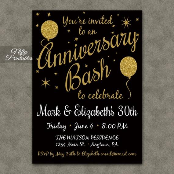 Gold Glitter Balloon Anniversary Invitations