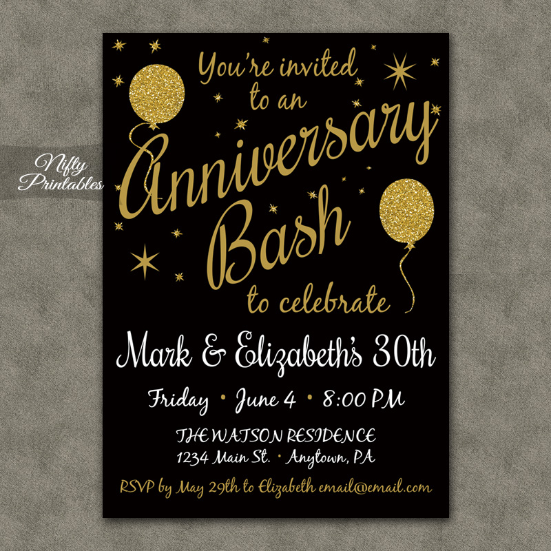 Gold Glitter Balloon Anniversary Invitations