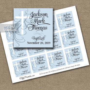 Blue or Pink Baptism Favor Tags - Swirly