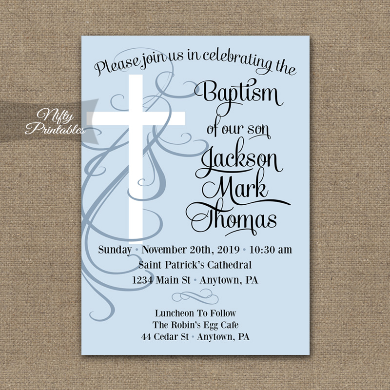 Blue Swirly Cross Boys Baptism Invitations