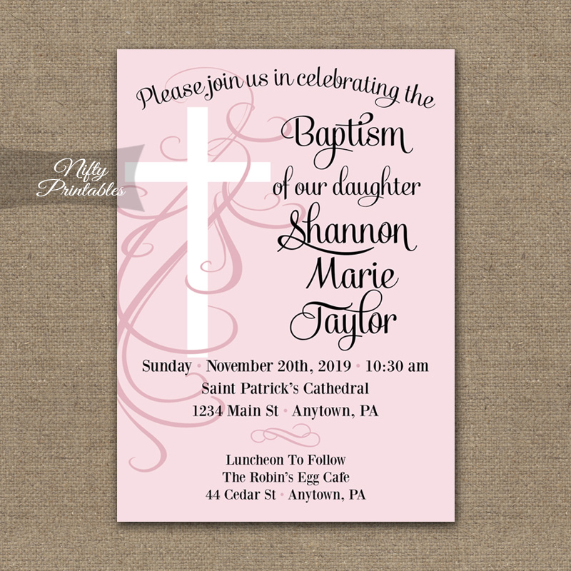 Pink Swirly Cross Girls Baptism Invitations