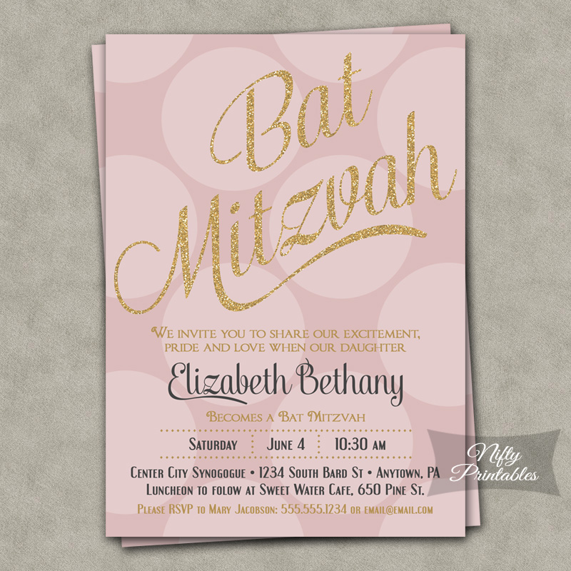 Pink Dots Gold Glitter Bat Mitzvah Invitations