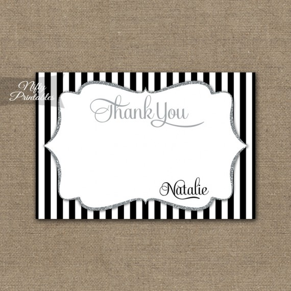 Black Silver Stripe Personalized Flat Thank You Cards