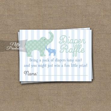 Elephant Diaper Raffle Boy Baby Shower - Blue