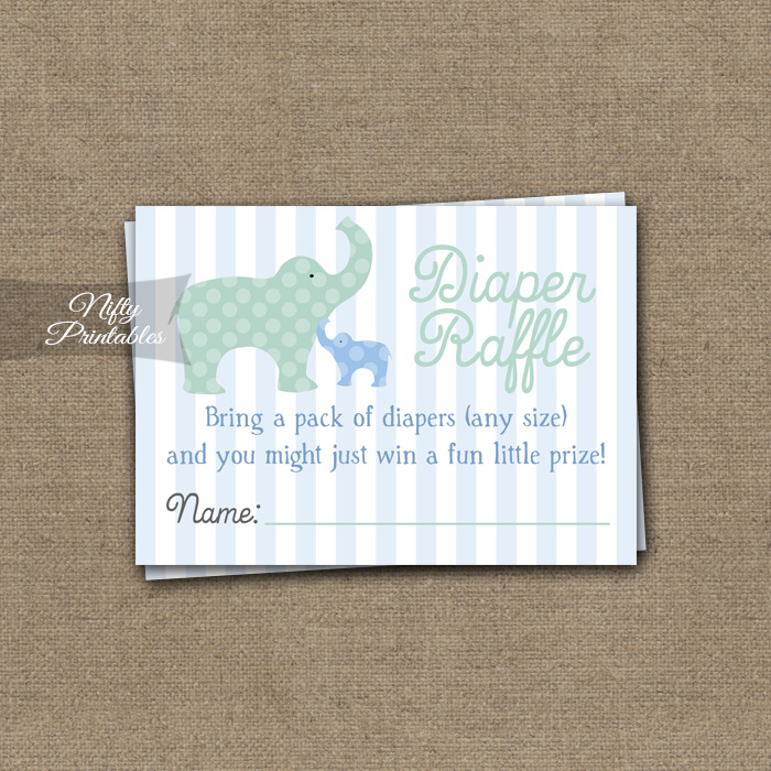 Elephant Diaper Raffle Boy Baby Shower - Blue
