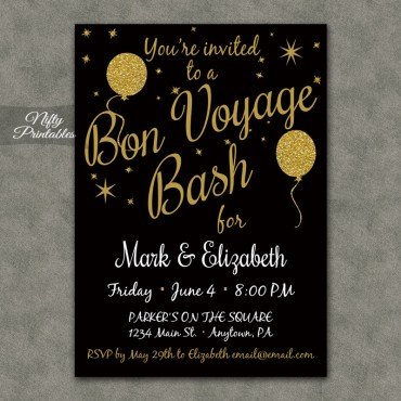 Glitter Balloons Bon Voyage Going Away Invitations