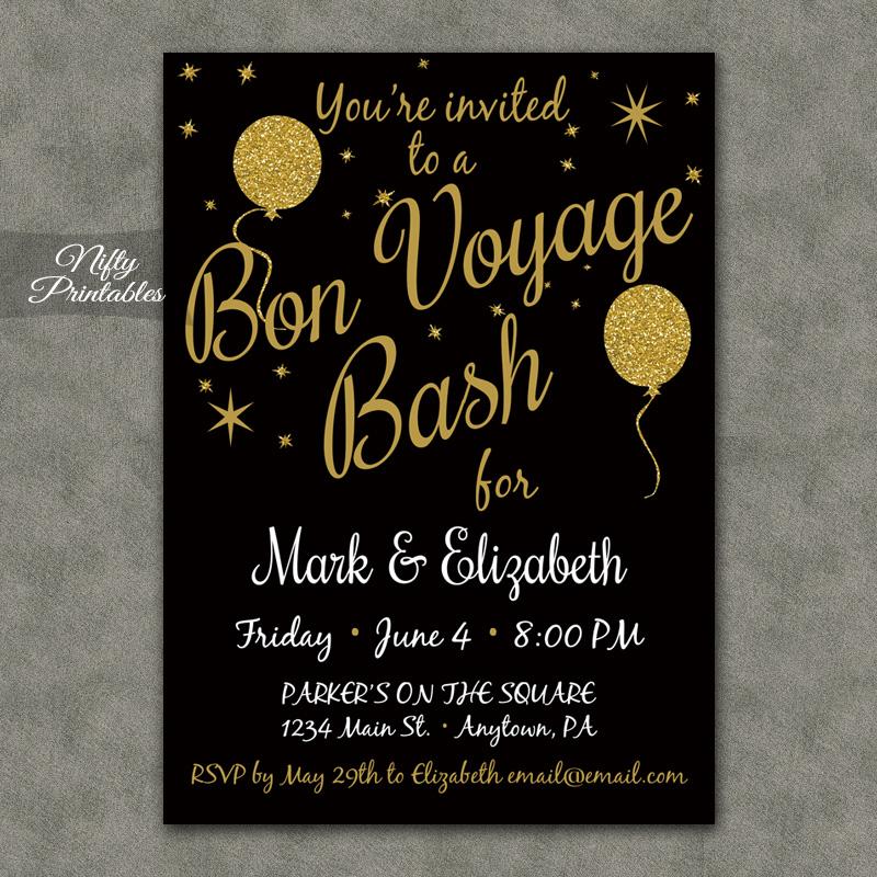 Glitter Balloons Bon Voyage Going Away Invitations