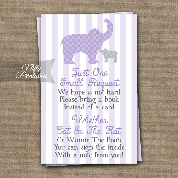 Purple Elephant Bring A Book Neutral Baby Shower