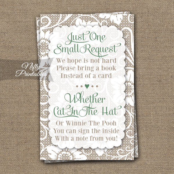 Lace Bring A Book Neutral Baby Shower - Green