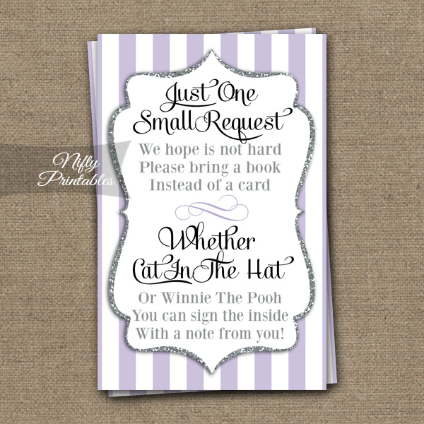 Bring A Book Baby Shower Insert - Lilac Silver