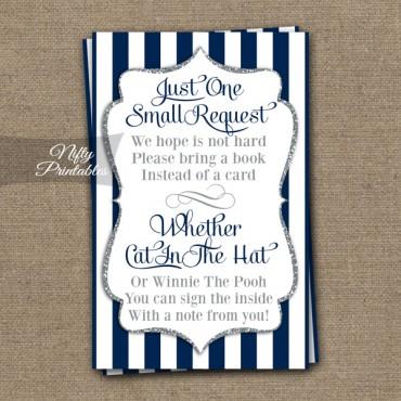 Bring A Book Baby Shower Insert - Navy Blue Silver