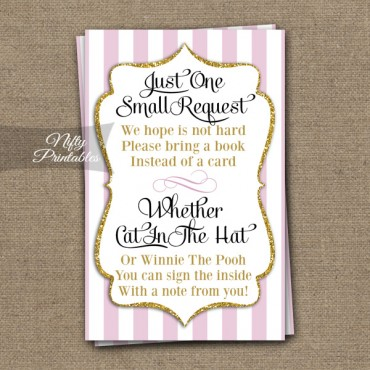 Bring A Book Baby Shower Insert - Pink Gold