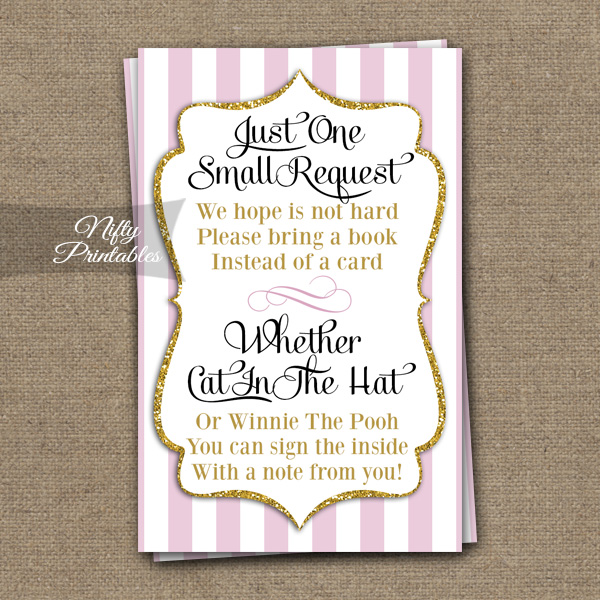 Printable Bring A Book Baby Shower Insert Pink Gold