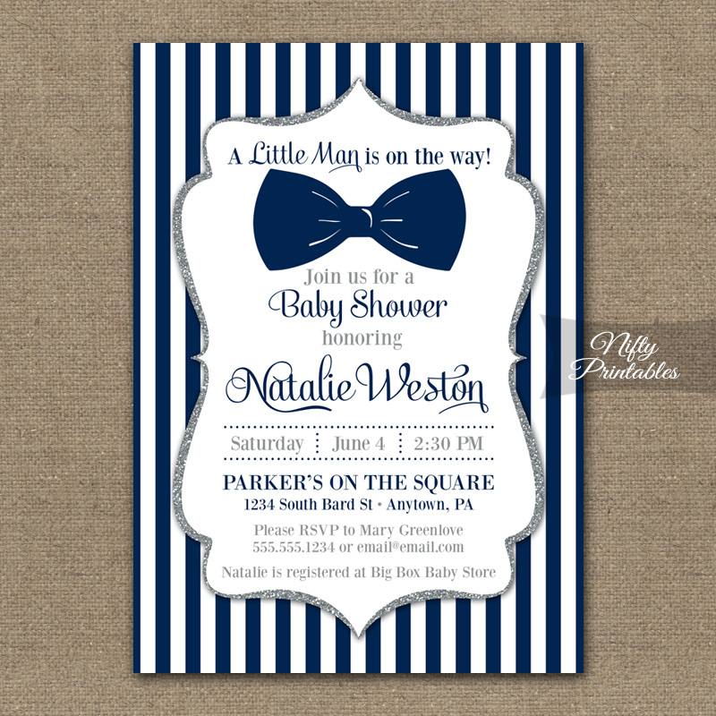 Bow Tie Baby Shower Invitations - Navy White Stripes