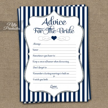 Bridal Shower Advice Cards - Navy Blue Silver