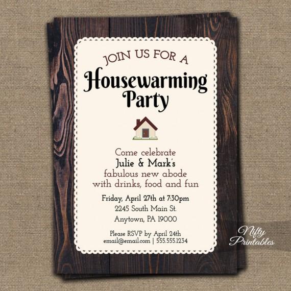 Brown Wood Housewarming Invitations