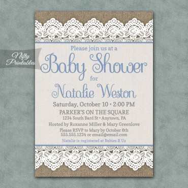 Rustic Burlap Lace Boy Baby Shower Invitations - Blue