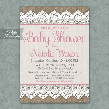 Rustic Burlap Lace Girl Baby Shower Invitations - Pink