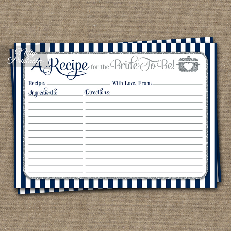 Bridal Shower Recipe Cards - Navy Blue Silver
