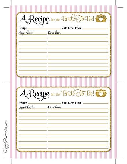 bridal shower recipe cards pink gold