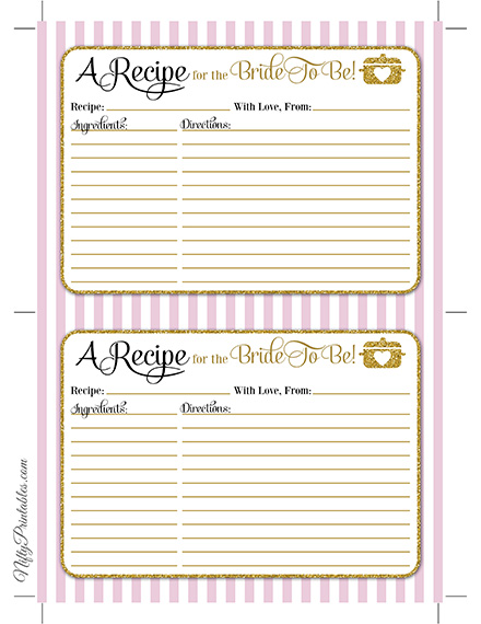 Bridal Shower Recipe Cards - Pink Gold