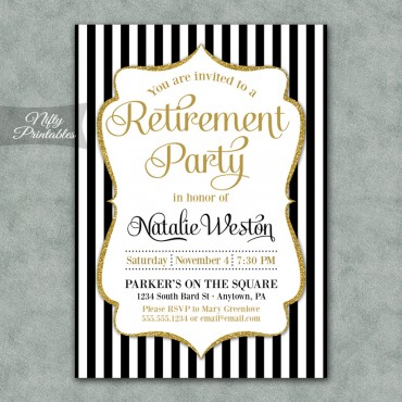 Black Gold Stripe Retirement Invitations